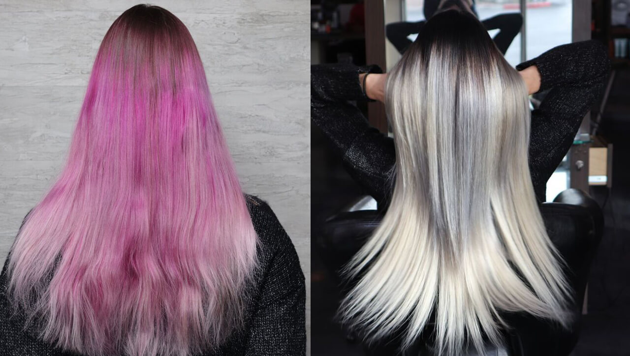 silver blue hair color before and after