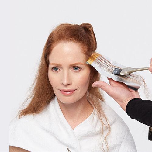 Vivacious red hair color technique step 1