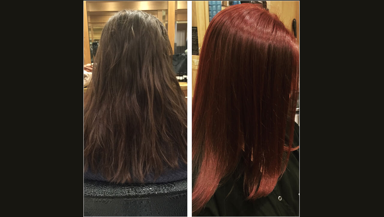Red Hair Color Formula Model Before and After