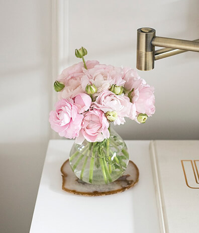 Beautiful Pink Florals on Night Stand