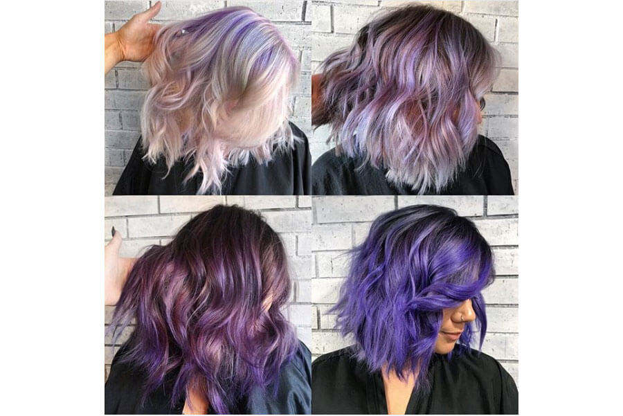 Purple Hair 4 different ways