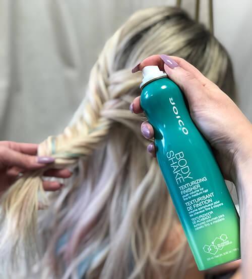 Models Hair Braided with Body Shake Bottle