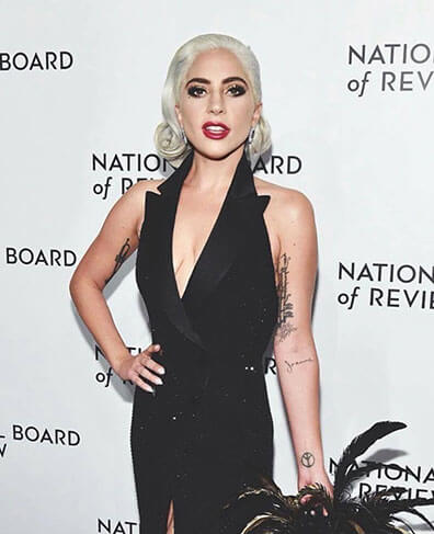 Lady Gaga White Hair in Black Dress with Feathers