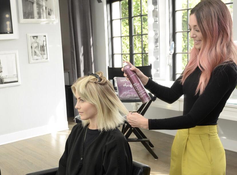 Jules Hough getting hair done by Jill Buck