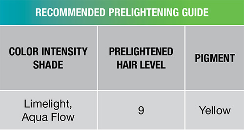 Color Intensity LoveFest Recommended prelightening guide