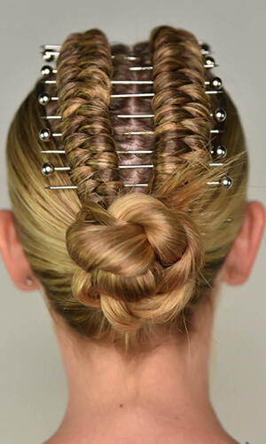 Model showing finished hair braided