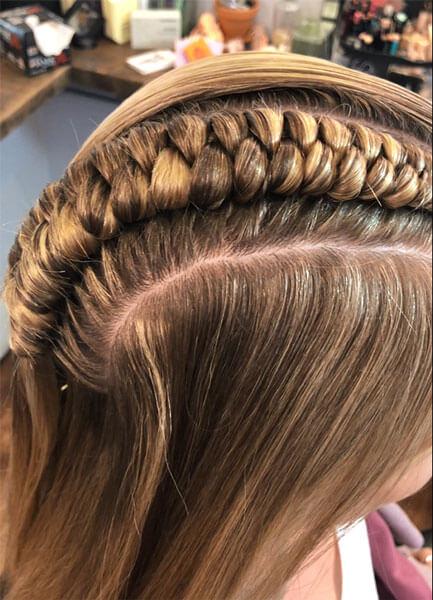 braided hair up-close
