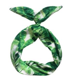 Leaf print hair scarf