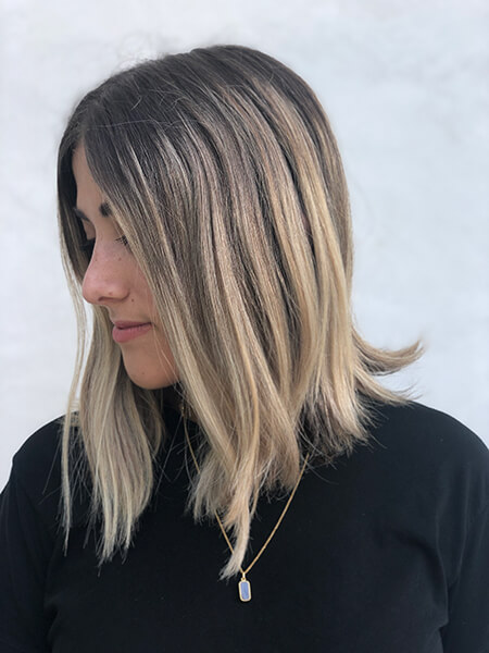 Jill Buck blonde hair model before coloring