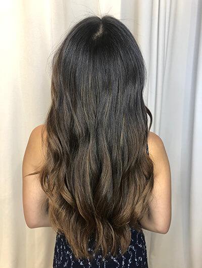 Jill Buck's brunette client after hair color