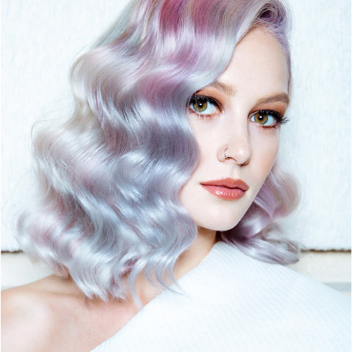 Beautiful model with lavender and blush pink hair