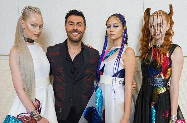 Richard Mannah with his hair models at premier orlando