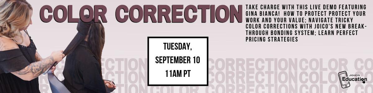 Gina Bianca color correction facebook live banner image