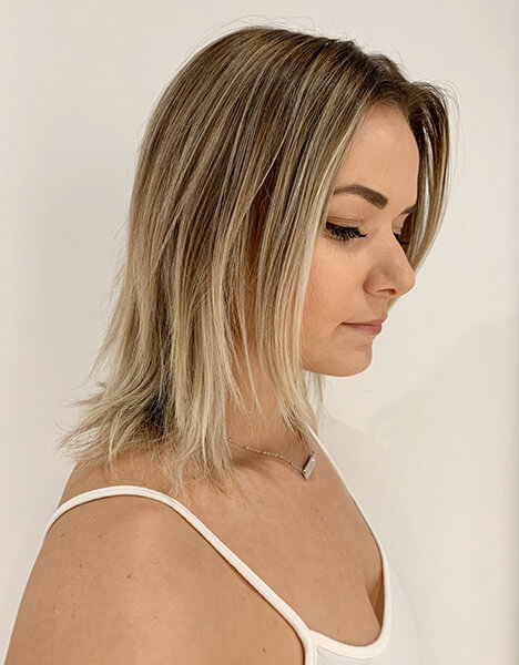Zoe Carpenter Blonde Education model before hair has been colored