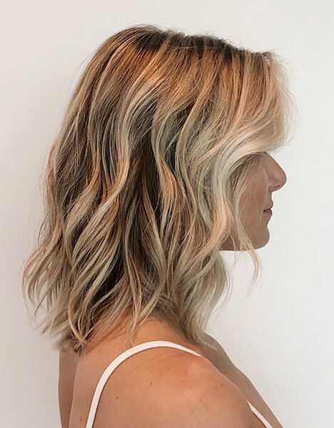 Zoe Carpenter Blonde Education model after hair has been colored