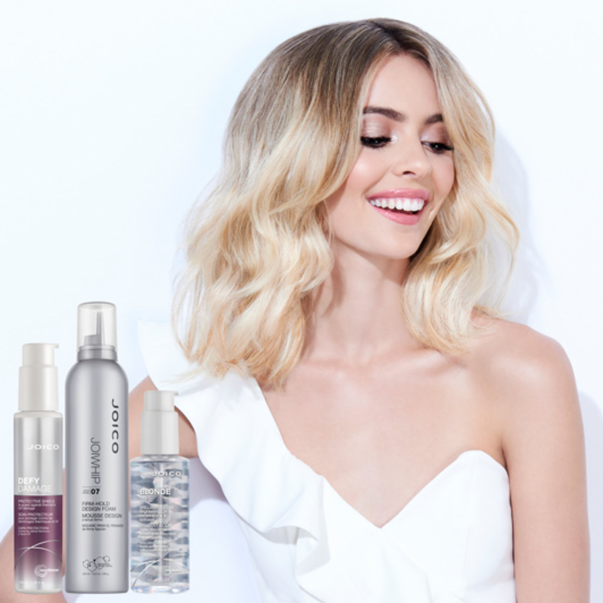 Blonde life model with joico styling products