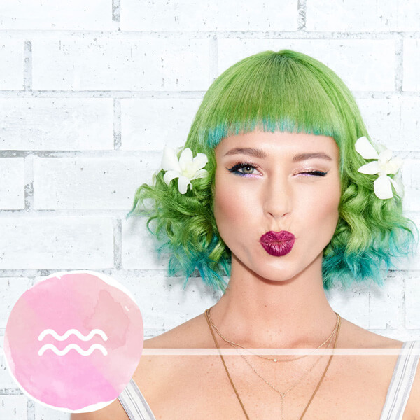 Model with vibrant green hair