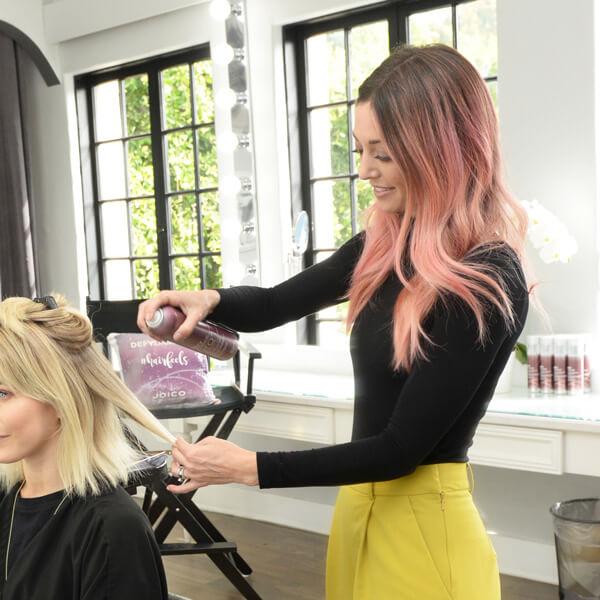 Jill Buck styling Julianne Houghs hair