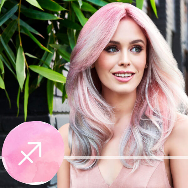 Model with pastel pink hair
