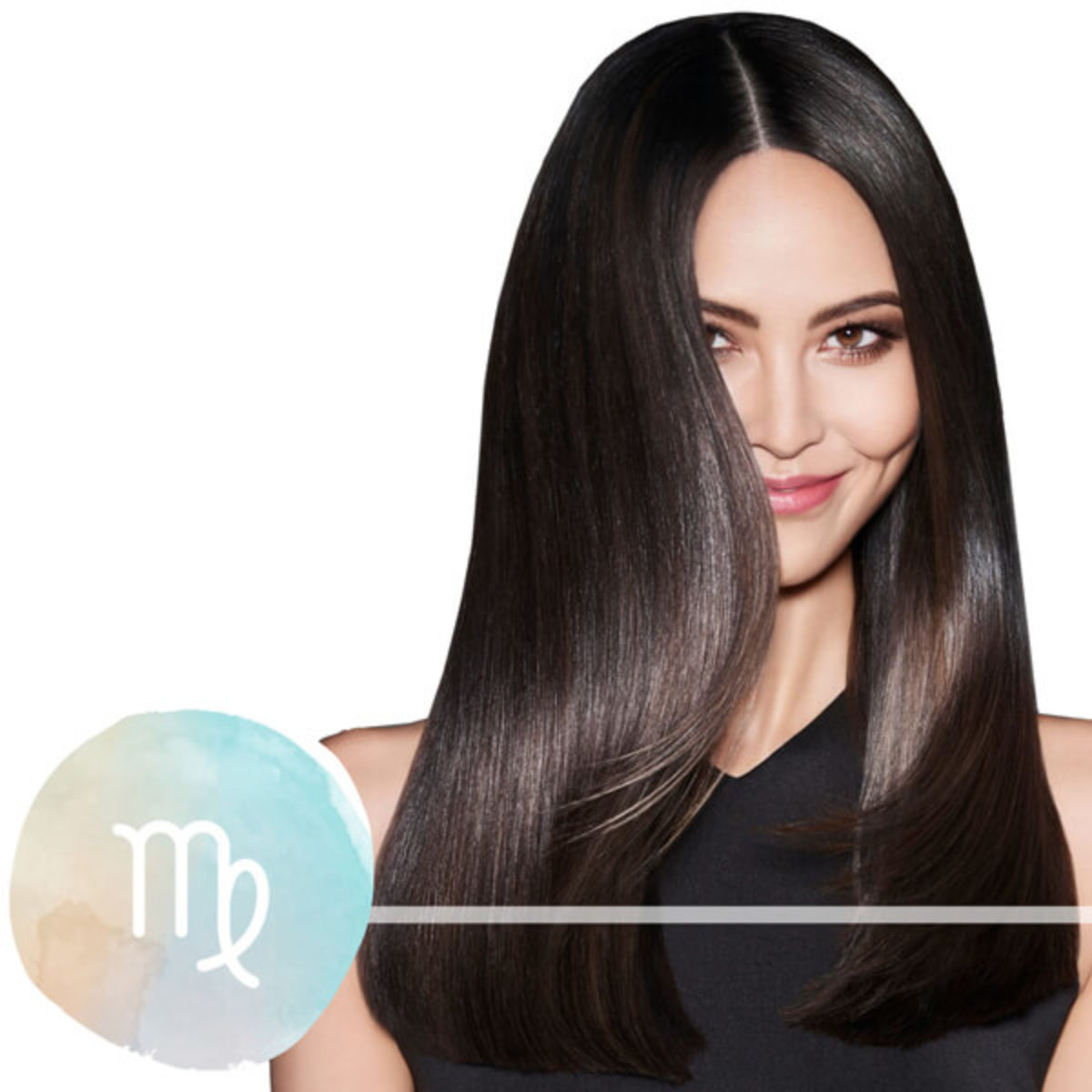 Model with dark black silky hair