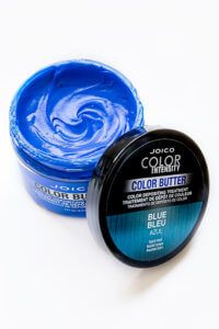 Color Butter Blue jar open with product