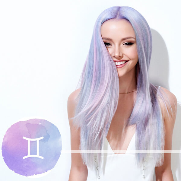 Model with long lavendar hair