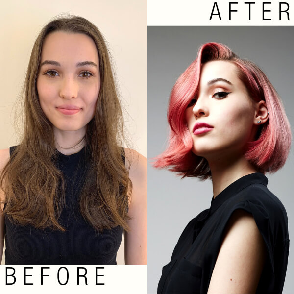 Bespoke Bob haircut model before and after