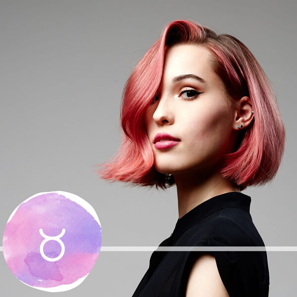 Model with pink hair with Taurus horscope model