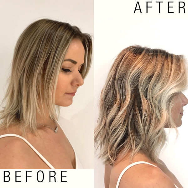 Zoe Carpenter Blonde model before and after highlights