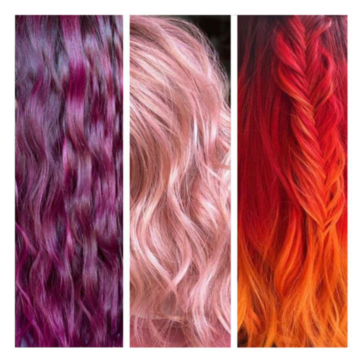Hair swatches bright vibrant colors