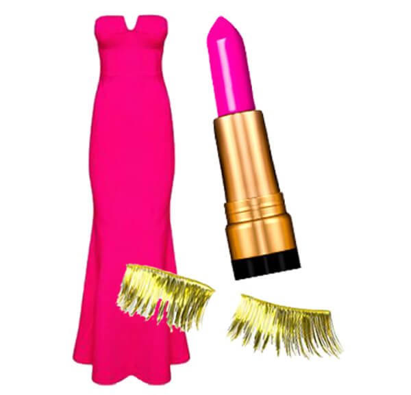Hot Pink dress with pink lipstick and gold eyelashes