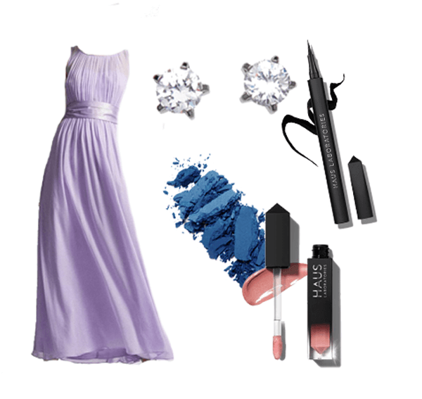 Purple floor length gown with makeup swatches