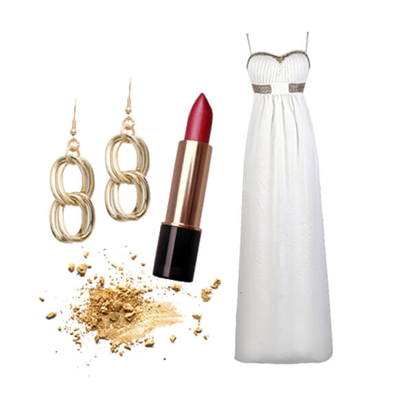 White floor length gown with red lipstick and earrings