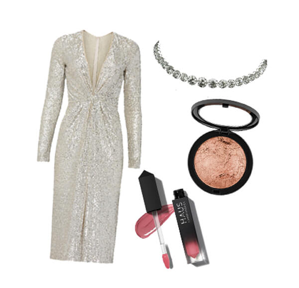 Beautiful gold gown with pink lipstick to match
