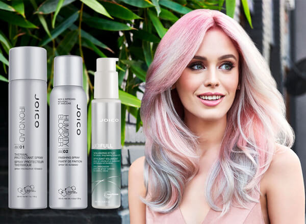Model with baby pink highlights