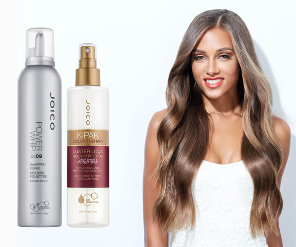 Brunette with hair products