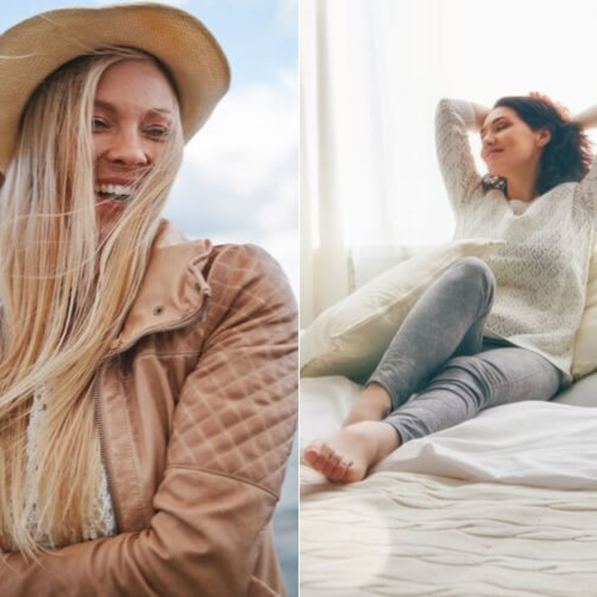 Girl smiling while hair blowing in wind, Girl lounging on couch