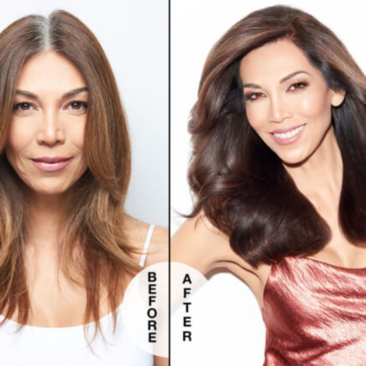 Women showing grey roots before hair colored and Women after with no roots and hair colored