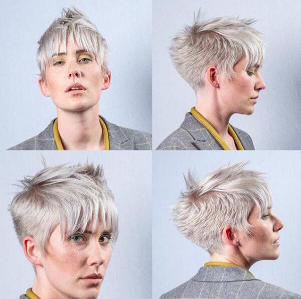 Women showing short blonde pixie haircut