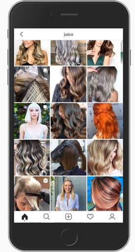 IPhone with Joico social feed