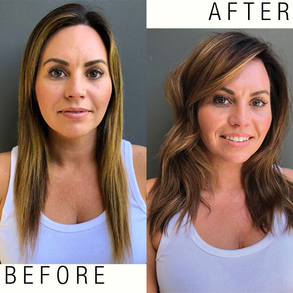 Model hair before and after coloring service