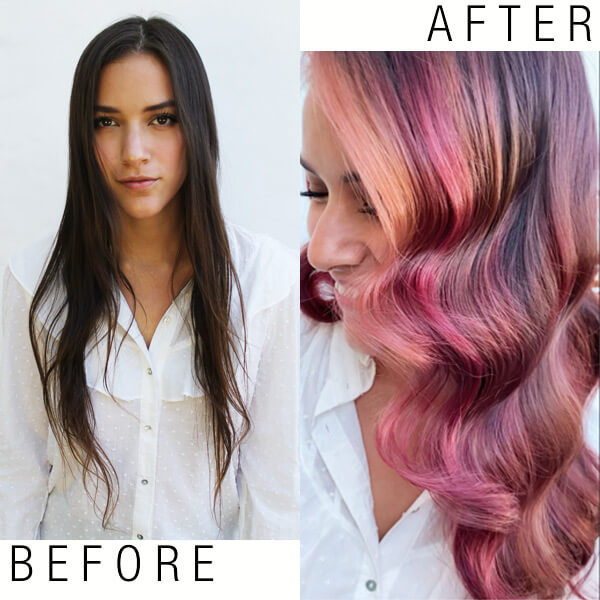 Model before and after hair coloring