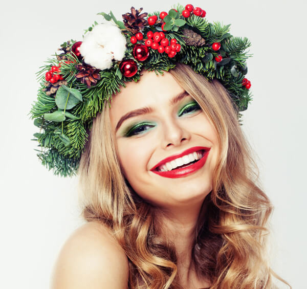 Model with holiday flower crown