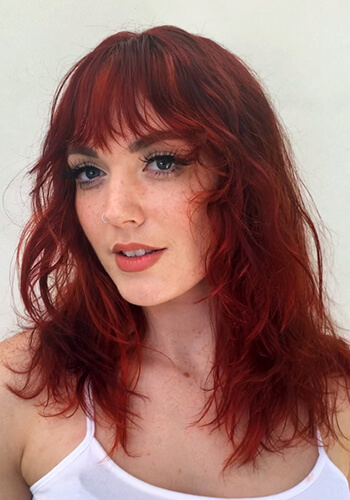 Model with vibrant red hair