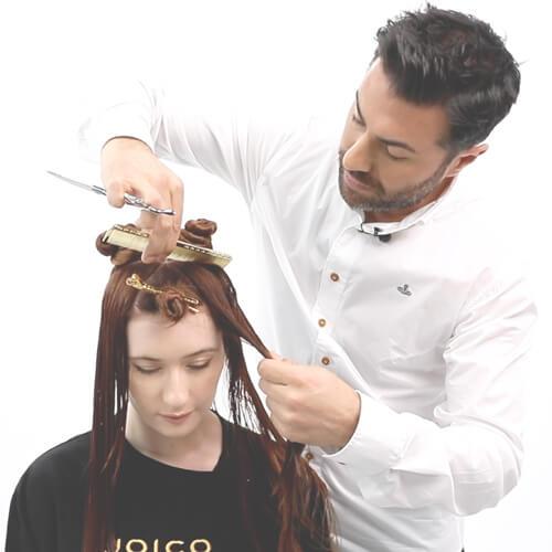 Stylist Richard Mannah Cutting Clients Hair