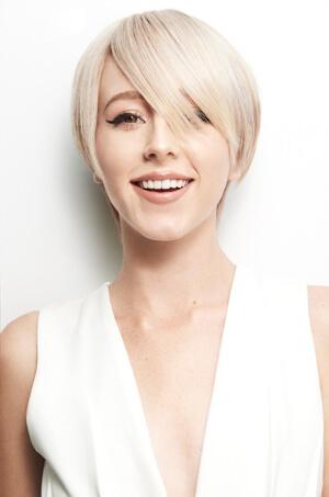 Blonde with short bob hair