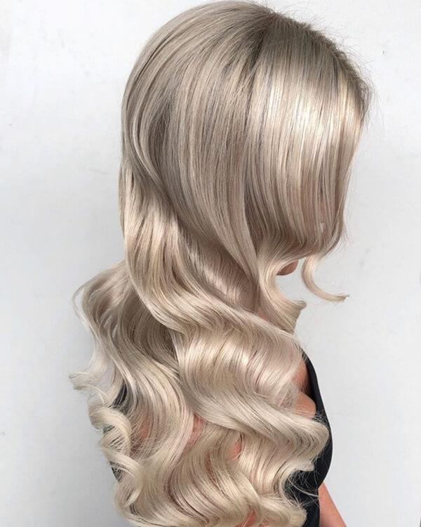 Bright blonde wavy hair