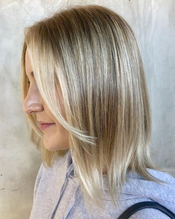 Blonde hair with warm highlights