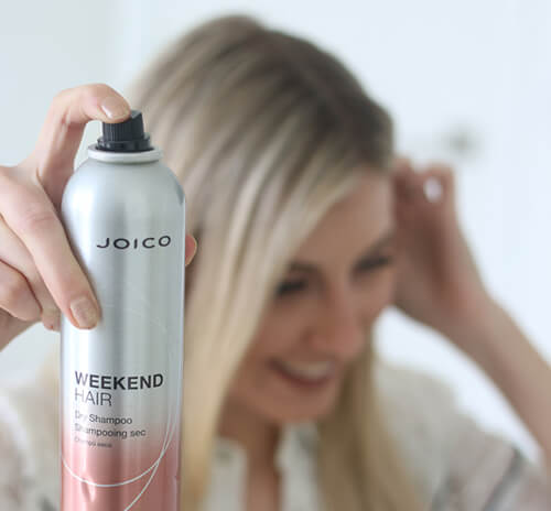 Hairstylist Olvia Smalley using Joico Weekend Hair