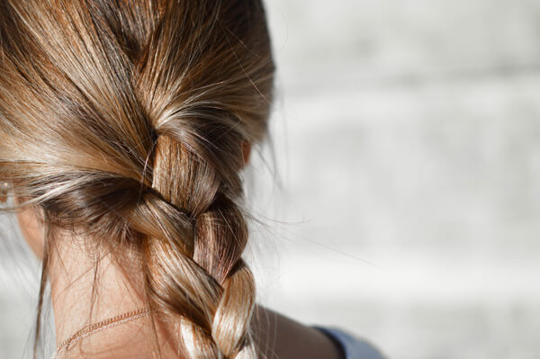 Womens hair in braid